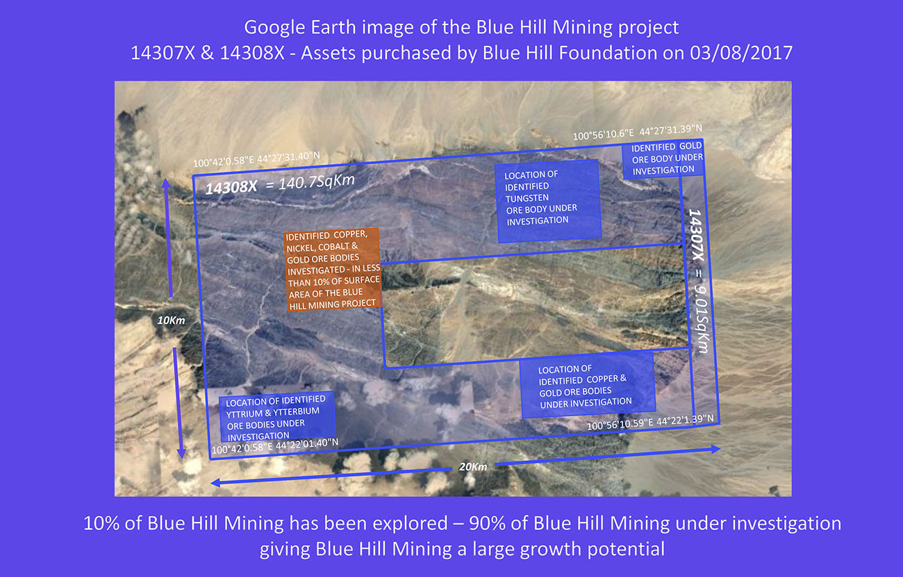 Google Earth image Blue Mining project